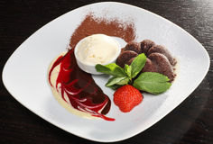 Delicious chocolate dessert. With ice cream Royalty Free Stock Images