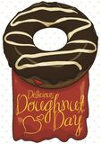 Delicious Chocolate Donut with Jelly Sign for Doughnut Day Celebration, Vector Illustration. Delicious donut with chocolate glaze, vanilla stripes and strawberry royalty free illustration
