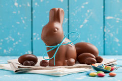 Delicious chocolate Easter bunny, eggs and sweets Royalty Free Stock Photography