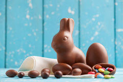 Delicious chocolate Easter bunny, eggs and sweets Stock Photography