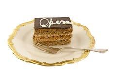 Delicious chocolate-hazelnut cake on a plate stock photo