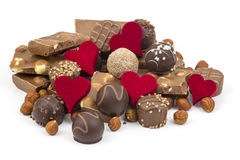 Delicious chocolate and hearts Stock Photo