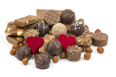Delicious chocolate and hearts Stock Photography