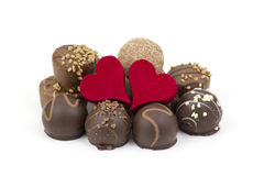 Delicious chocolate and hearts Royalty Free Stock Photography