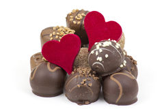 Delicious chocolate and hearts Stock Image