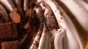 Delicious chocolate ice cream for dessert stock video