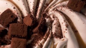 Delicious chocolate ice cream for dessert stock video footage