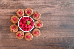 Delicious chocolate lava cakes with fresh raspberries and mint leaf with white bowl of raspberries. Delicious chocolate lava cakes with fresh raspberries and Stock Photos