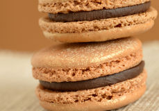 Delicious Chocolate Macaron Cookies Stock Photos