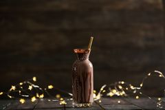 Delicious Chocolate Milk on Woden Background Stock Images