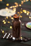 Delicious Chocolate Milk on Woden Background Stock Photo