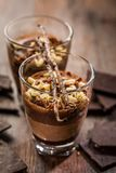 Delicious chocolate mouse in a bowl stock photos