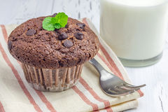 Delicious chocolate muffin with choco chips and glass of milk. Closeup Royalty Free Stock Image