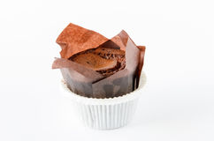 Delicious chocolate muffin on white background witch copy space Royalty Free Stock Photo
