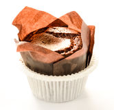 Delicious chocolate muffin on white background witch copy space Royalty Free Stock Images