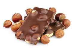 Delicious chocolate with nuts Stock Images