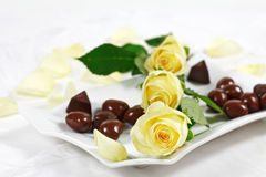 Delicious chocolate pralines with rose Royalty Free Stock Photo
