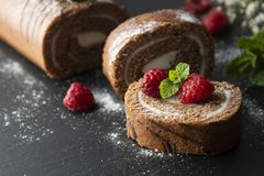 Delicious chocolate roll sponge cake with vanilla cream and mint leaves. Desert sweet food. royalty free stock images