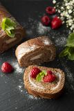 Delicious chocolate roll sponge cake with vanilla cream and mint leaves. Desert sweet food stock photography