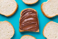Delicious chocolate sandwich. And pieces of fresh bread. Top view, Flat lay Royalty Free Stock Photography