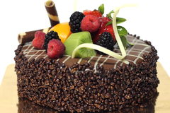Delicious chocolate strawberry cake with chocolate ganache. Stock Images