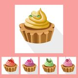 Delicious chocolate tartlet collection decor Vector illustration Royalty Free Stock Images