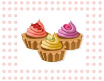 Delicious chocolate tartlet collection decor Vector illustration Retro style Royalty Free Stock Image
