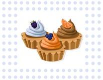 Delicious chocolate tartlet collection decor Vector illustration Retro style Stock Photos