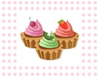 Delicious chocolate tartlet collection decor Vector illustration Retro style Stock Images
