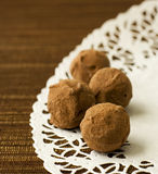 Delicious chocolate truffles stock photos