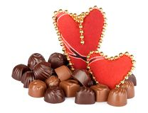 Delicious chocolate and two hearts Royalty Free Stock Image