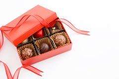 Delicious chocolates. In the box stock photos