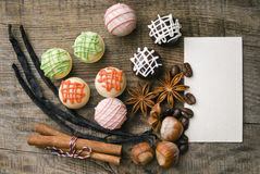 Delicious chocolates and spices Stock Photography