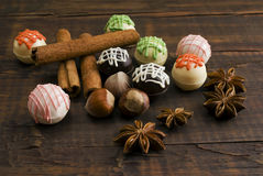 Delicious chocolates and spices Stock Images