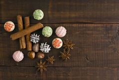 Delicious chocolates and spices Royalty Free Stock Photography