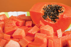 Delicious Chopped Papaya Fruit Stock Image