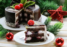 Delicious Christmas chocolate cake Royalty Free Stock Images