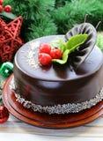 Delicious Christmas chocolate cake Royalty Free Stock Image