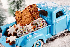 Delicious Christmas cookies in back of toy truck Stock Images