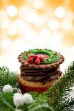 Delicious Christmas cupcake Stock Images