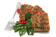 Delicious Christmas Fruitcake - Sliced Stock Photo