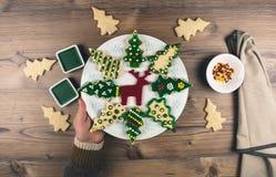 Delicious Christmas gingerbread cookies. Stock Photos