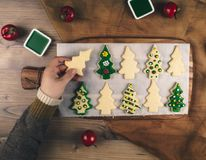 Delicious Christmas gingerbread cookies. Stock Photo