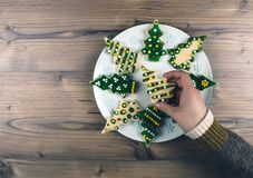 Delicious Christmas gingerbread cookies. Royalty Free Stock Image