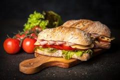Delicious ciabatta sandwich Stock Images