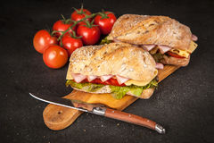 Delicious ciabatta sandwich Royalty Free Stock Photography