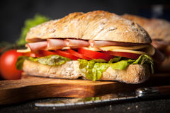 Delicious ciabatta sandwich Stock Images