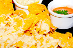 Delicious classic Guacamole with tortilla chips, Tex Mex dish Royalty Free Stock Photo