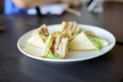 Delicious Club Sandwich And French Fries Stock Photos