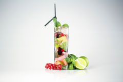 Delicious cocktail. With fruits studio Royalty Free Stock Image